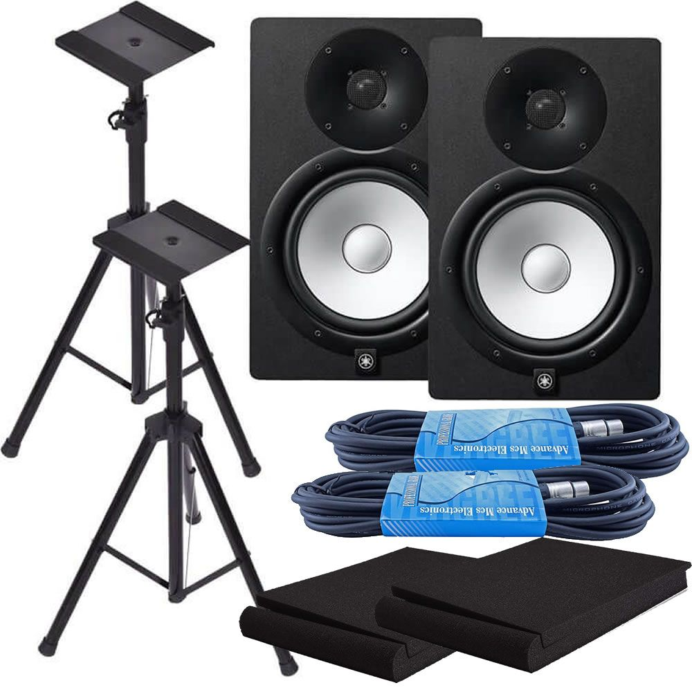 Yamaha HS8 8-Inch Powered Studio Monitor Speaker Black (Pair) with Height Adjustable Speaker Stands, Monitor Isolation Pads, and XLR Cables