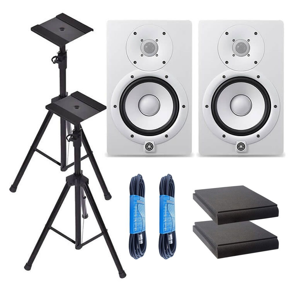 Yamaha HS7W 7-Inch Powered Studio Monitor Speaker White (Pair) with Height Adjustable Speaker Stands, Monitor Isolation Pads, and XLR Cables