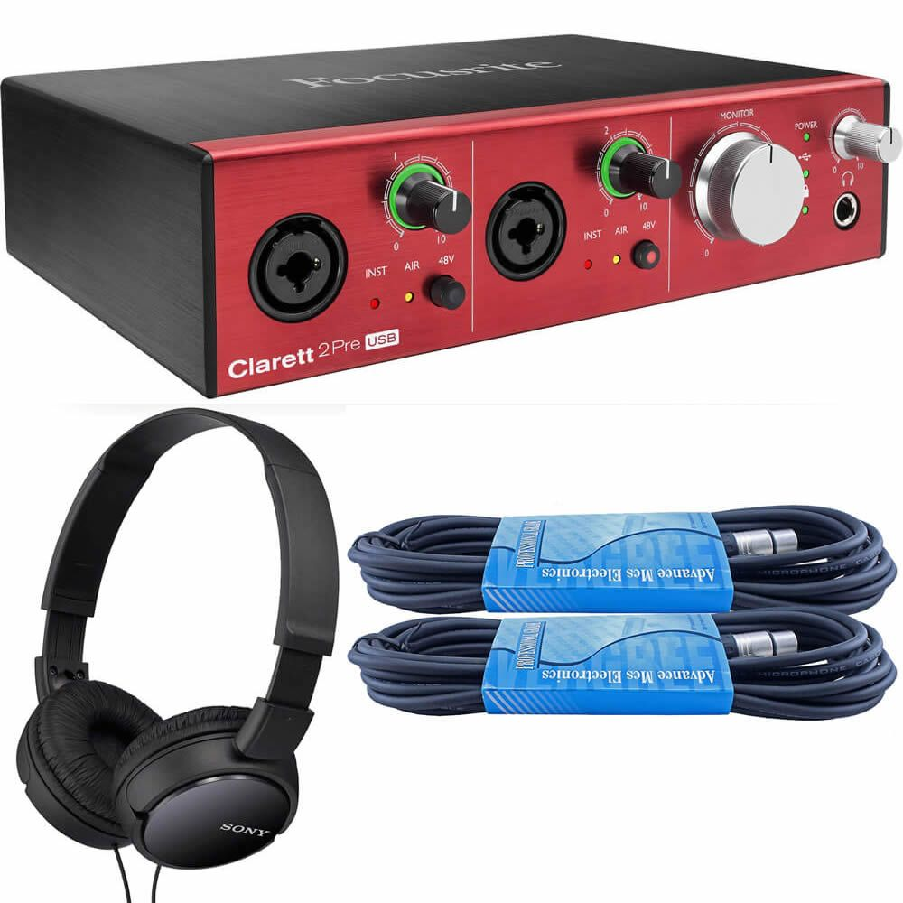Focusrite Clarett 2Pre USB 10-In/4-Out Audio Interface Bundled with 2 x 15ft XLR Cables and On-Ear Stereo Headphones